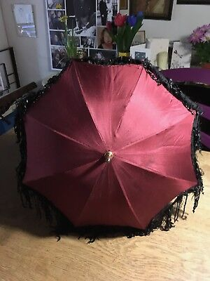 Beautiful port red silk Victorian parasol/umbrella with tassels and beads