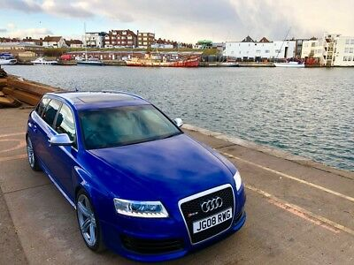 Audi Rs6 C6 V10 Quattro Estate 2008 Sepang Blue White Leather 1St Stage 665 Bhp