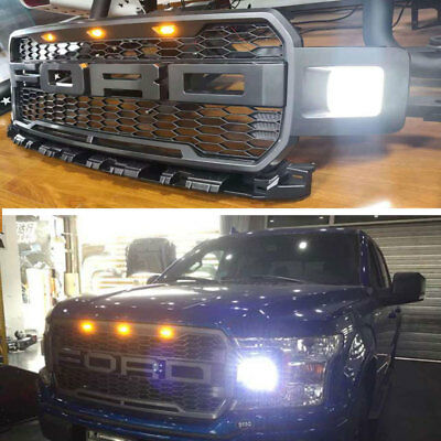 2018 F150 Raptor Style Front Grille Upper Hood  Grill For Ford F-150 Dark Gray