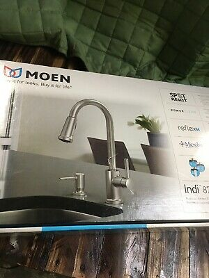 New Moen Indi Single-Handle Pull-Down Sprayer Kitchen Faucet Stainless 87090MSRS