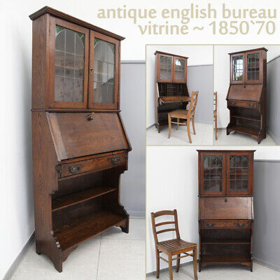 Antique Bureau Bookcase Vitrine English 18th 19th Century Schrank Kommode Oak