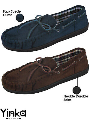 Mens Faux Suede Slip On Textile Lined Lightweight Hard Soles Moccasin Slippers