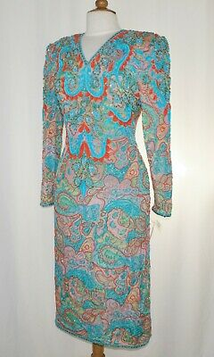 Jasdee Vintage Beaded & Sequins Dress Hand Work & Hand Print On Silk Style 3073