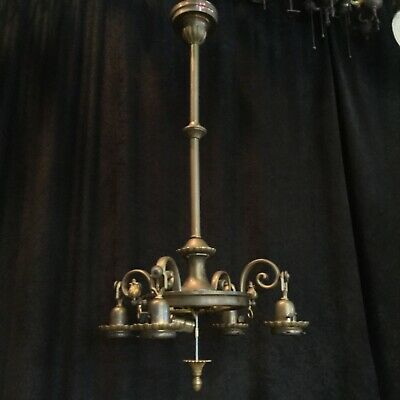 Antique Chandelier Gas & Electric Early Needs Shades High Quality Egg Dart 1905