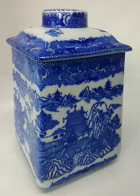 Chinese Porcelain Blue White Tea Caddy & Cover Willow Pattern Tapering Form
