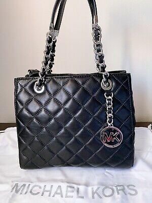 4c4b6bdb0f64 MICHAEL KORS SUSANNAH black quilted leather small tote - $118.00 ...