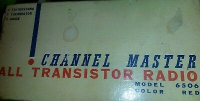 Vintage Channel Master RED 6-transistor radio Model 6505--works