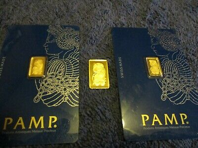2 PAMP Suisse 1 Gram.9999 Gold Bar Fortuna Sealed With Assay, also one 2.5 gram