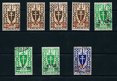 Cameroon stamps, 1946 Surcharge, Set of 8, Scott #297a-303 M & U