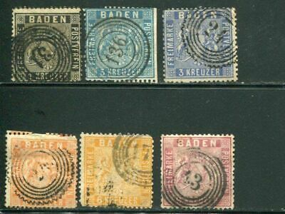 Baden #10 -14  used  F-  VF       -  Lakeshore Philatelics