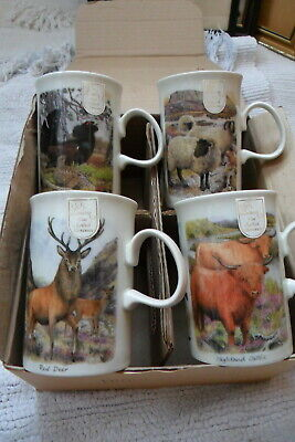 Dunoon-Boxed Set 4 Mugs-Scottish Highland Wildlife Set-Unused