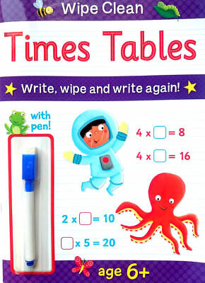 NEW Wipe Clean TIMES TABLES Book with PEN Age 6+ Ready for School Learning 2019