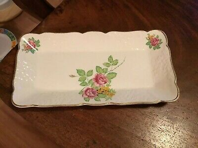 Vintage Ceramic Rose Patterned Sandwich Trays Serving Plate Dressing Table Tray