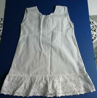 Vintage Victorian, Edwardian White Cotton Girls Petticoat/Slip Embroidered Hem