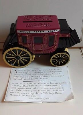Wells Fargo Bank Stagecoach Bank Stage Coach with Key 1998 New in Bag