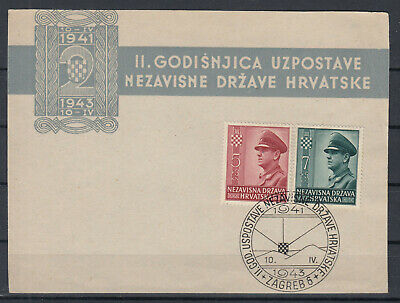 Croatia NDH 1943 WWII ☀ 2th ann. A.Pavelic Mi.100/101 ☀ FDC (first side cover)