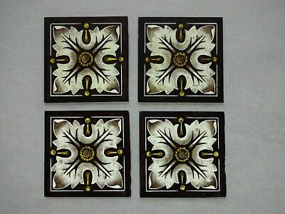 Beautiful Stained glass.FLOWERS.Hand painted.Kiln fired.75 x 75mm.Antique style