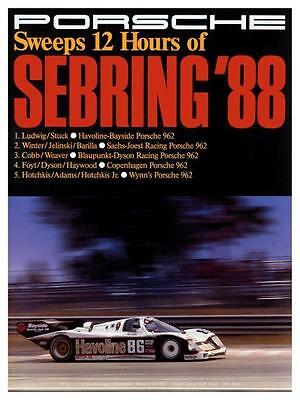 Porsche *LARGE POSTER* 1988 962 Race Car SEBRING - AMAZING ART PRINT  911