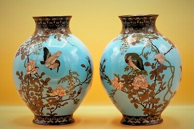 19th Century, RARE True PAIR Chinese KINGFISHER Cloisonne Vases - FINEST ANTIQUE
