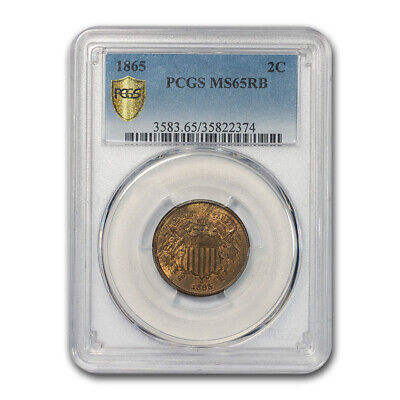 1865 Two Cent Piece MS-65 PCGS (Red/Brown) - SKU#176063