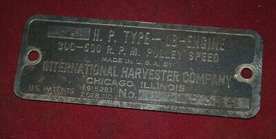 International IHC 3 - 5 HP LB Steel Name Plate Tag Gas Engine Motor OP29.4.1