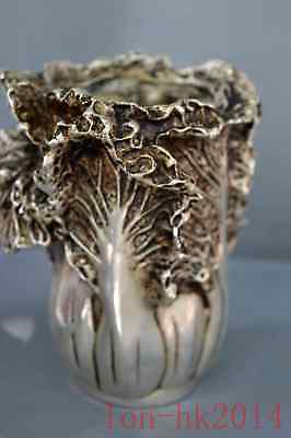 Ancient China Collectable Miao Silver Hand Carve Cabbage Wealthy Rare Brush Pot