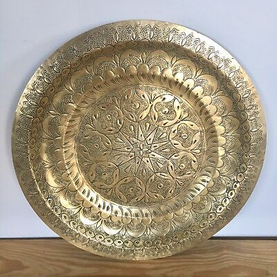 """Antique Round Middle Eastern Persian 13.5"""" Brass Tray Wall Art Hanging"""