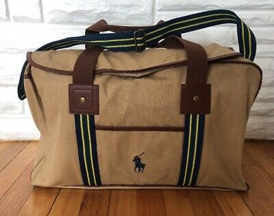 POLO Ralph Lauren Canvas Duffel Bag Weekender Overnight Gym Bag Beige  20