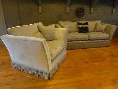 Ashley Manor Large 3str snuggler Loretta grey silver chenille traditional sofa
