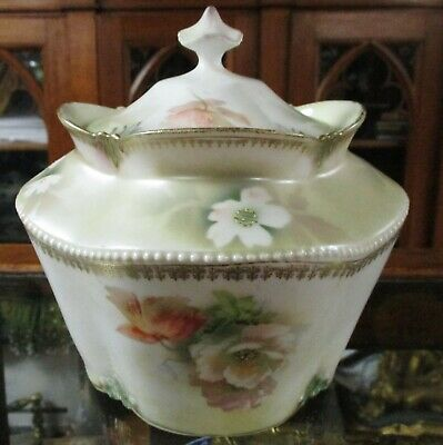 Victorian Floral Rs Prussia Biscuit Barrel