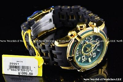 Invicta 51mm Bolt Sea Spider Hybrid Tri Cable Alloy Chron 18K Gold Green Watch