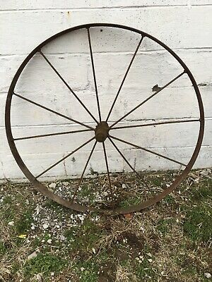 Old Vintage Antique Primitive Steel Spoke Wagon Cart Implement Wheel Farm