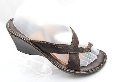 bb9a6361105 Born Womens Size US 8 EUR 39 Brown Leather Toe Ring Slip On Wedges Heels  Sandals