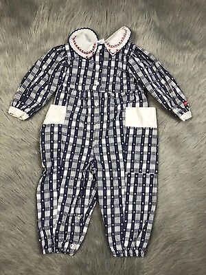 Vintage Oshkosh Bgosh Baby Girls Red White Blue Star Plaid Romper Jumpsuit