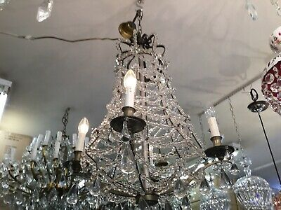 ANTIQUE 4LIGHT CRYSTAL CHANDELIER VICTORIAN EMPIRE FRENCH BEADED RARE No.104