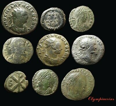 LOT OF 9 Ancient ROMAN  BRONZE & Silver COINS