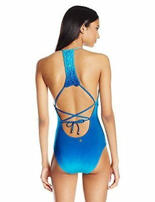 03c577b459568 NEW Nanette Lepore Womens Solola Goddess Macrame One Piece Swimsuit  Turquoise XS