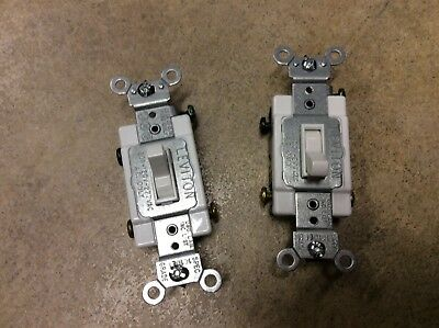 Lot of 2- Leviton 54523-2W 20 Amp 120/277 Volt Toggle Framed 3-Way Quiet Switch