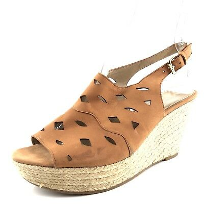 bd8349b762a Via Spiga Tan Leather Slingbacks Espadrille Wedge Sandals Womens Size 9 M