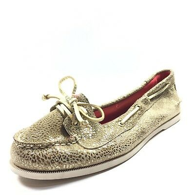 4ea81821a73f New Sperry Top-Sider Audrey Leopard Gold Leather Boat Shoes Women s Size 6  M