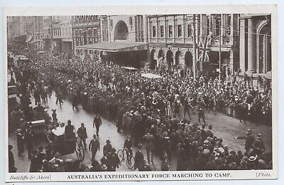 Ww1 C1914 Australian Postcard Expeditionary Force Marching To Camp Sydney W48