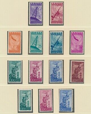 Italy 1947-1956 Mnh Airmail, Shortwave Radio & 1956 To 1000L, Vf Page