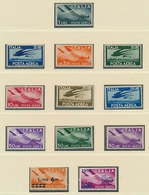 Italy Republic 1945-1957 Album Page Of Airmail Stamps Inc Sc #c106/114 Minly Mnh