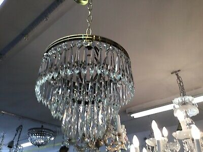 Original Vintage Basket Icicle French Glass Dome Large Crystal Chandelier