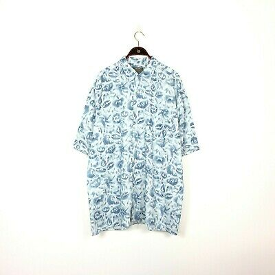 Vtg 90's ABSTRACT Shirt BLUE Sea Beach Button Up Hipster Crazy Festival Large