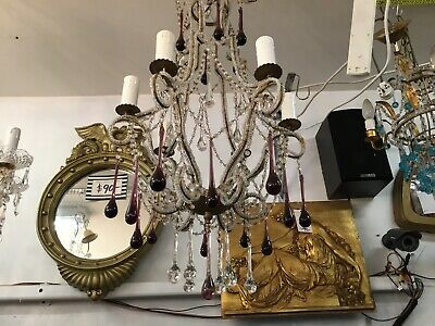 French Beaded Rare Vintage Chandelier Hallway Crystal Dining Room