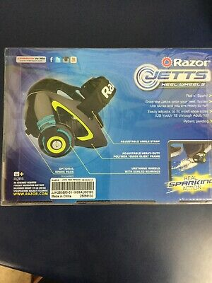 New Razor Jetts Heel Wheels - Black/Pink - Real SPARKING Action Brand New 8yrs+
