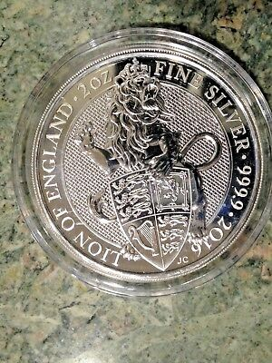 2016 Queen's Beasts 2 oz Silver Lion of England BU Royal Mint In Capsule