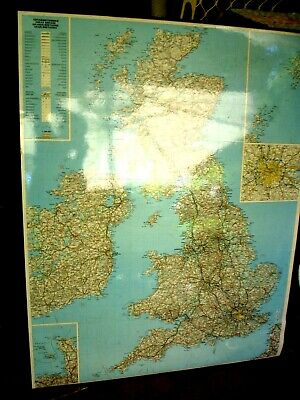 Big Laminated & Foam S/H Map Of England & Great Britain 130 X 110 Cm Framed