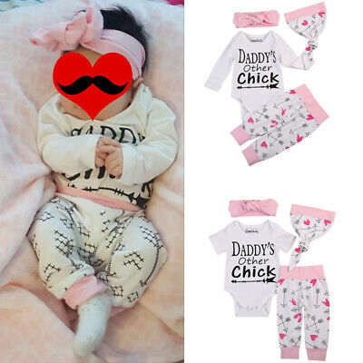 Newborn Infant Baby Girls Outfits Clothes Tops Romper+Long Pants Hat 4PCS Set